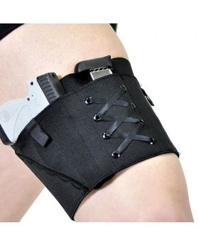 Black on Black Garter Holster for Compact Firearms by Can Can Concealment