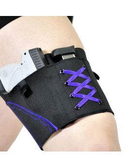 Purple on Black Garter Holster for Compact Firearms by Can Can Concealment