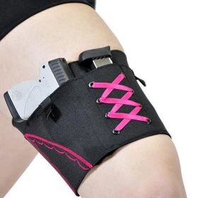 Pink on Black Garter Holster for Compact Firearms by Can Can Concealment
