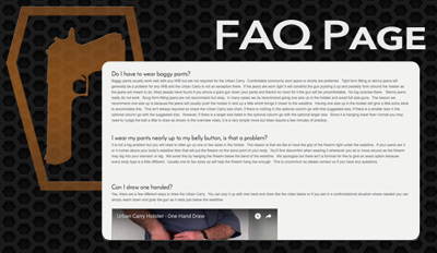 Button to FAQ page